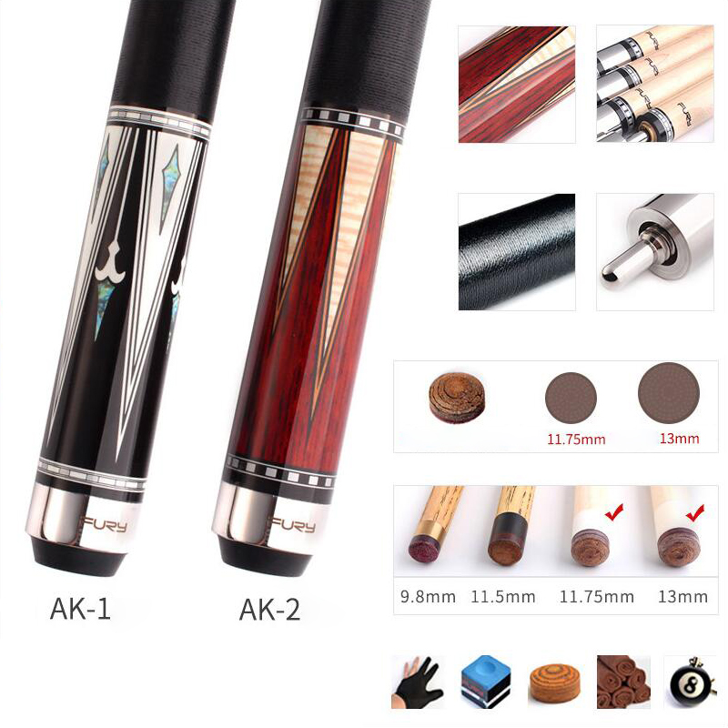 FURY AK 2-Piece Handmade Pool Cue Stick With Case Hard Canadian Maple Billiard Cue Kit 11.75mm 13mm Tips Leather/Linen Thread
