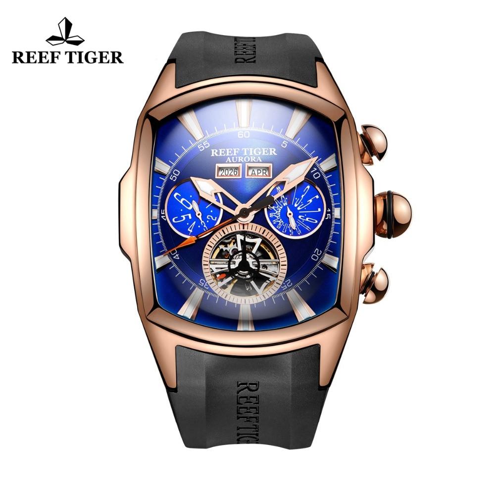 Reef Tiger/RT Mens Sport Watches Analog Display Luminous Tourbillon Watches Rose Gold Blue Dial Tank Watches RGA3069