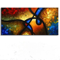 Large Hand Painted Abstract Oil Painting On Canvas Handmade Graffiti Line Paintings For Living Room Knife