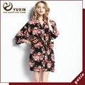 CR006 Algodão Floral Robe Floral Mulheres Nupcial Do Casamento da Flor de Cetim de Seda Kimono Robe Spa Senhora Noite Vestido Frete Grátis