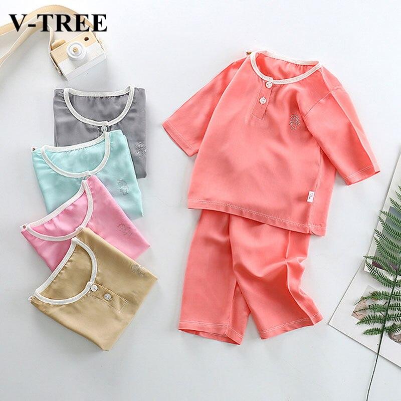 2019 Summer Children Clothing Sets Cotton Silk Pajamas For Girls Sleepwear Solid Color Kids Pyjamas Baby Nightwear 1-8T