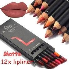 Crayon à lèvres de marque 12 couleurs, Nude, mat, hydratant, imperméable, longue durée, Kit de maquillage professionnel