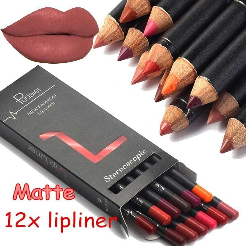 Marca 12 cores lábio forro lápis nude fosco lipliner hidratante à prova dlong água longa duração batom forro kit de maquiagem profissional