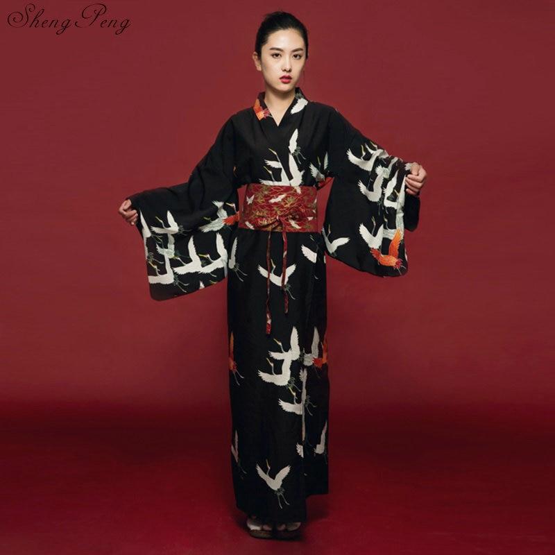 Black kimono female yukata women haori Japan geisha costume obi Japanese kimono traditional dress cosplay Q650-in Asia & Pacific Islands Clothing from Novelty & Special Use    1