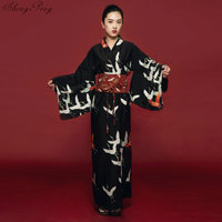 Black kimono female yukata women haori Japan geisha costume obi Japanese kimono traditional dress cosplay Q650