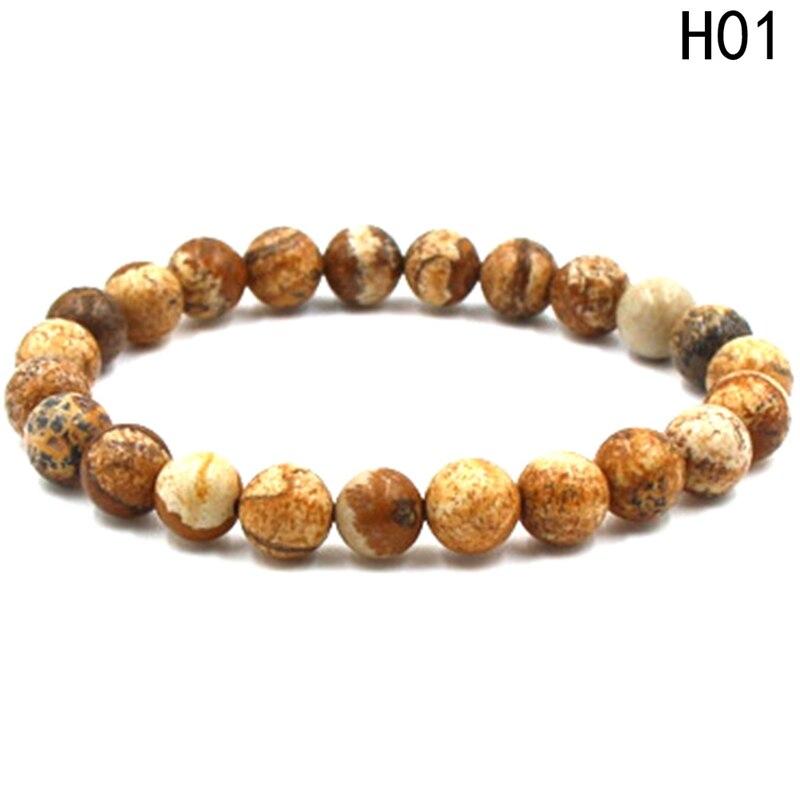 1Pcs Natural Stone Bracelets Round Beads Stretch Bracelet For Women Men