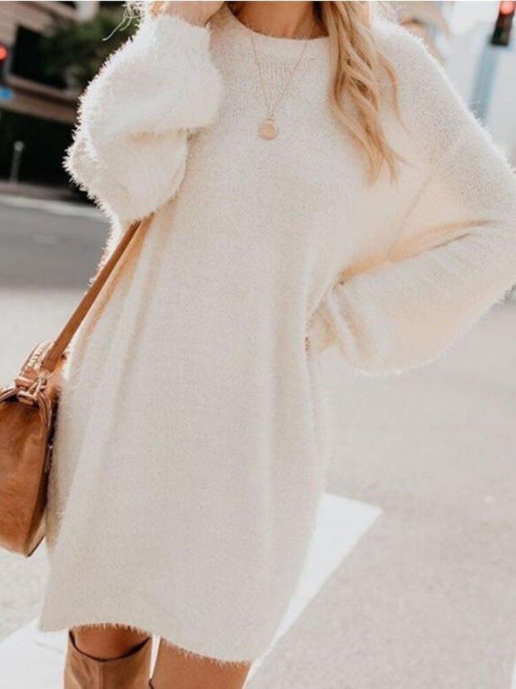 Womens Autumn Winter Oversized Loose Velvet Turtle Neck Pullover Hairy Long Sweater Dress Long Sleeved Shirts Rabbit Dress Plush