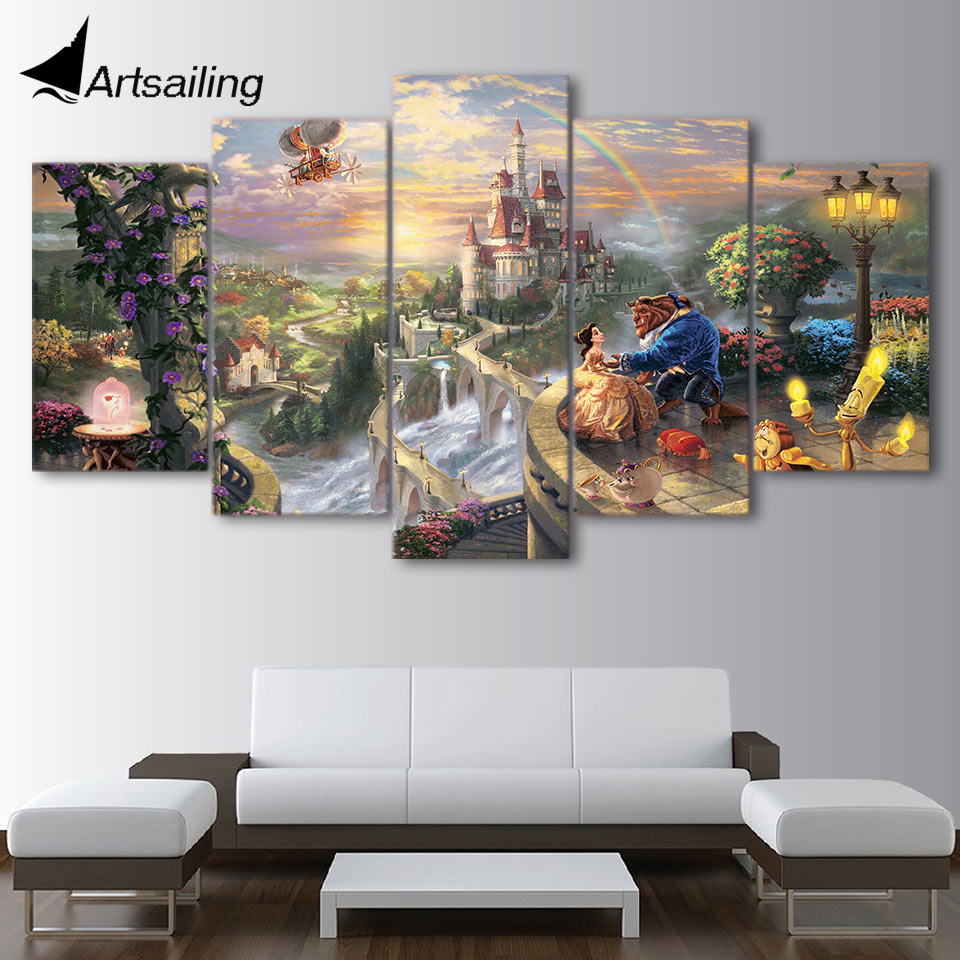 Us 5 99 40 offartsailing 5 piece canvas art cartoon castle beauty and the beast poster wall pictures for living room thomas kinkade ny 472 in