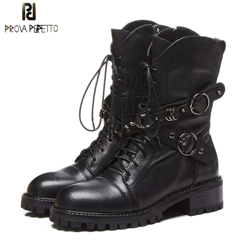 Prova Perfetto High Quality Genuine Leather Ankle Boots For Women Lace Up Platform Boots Fashion Zipper