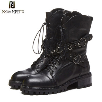 Prova Perfetto High Quality Genuine Leather Ankle Boots For Women Lace Up Platform Boots Fashion Zipper Punk Boots Flat Shoes