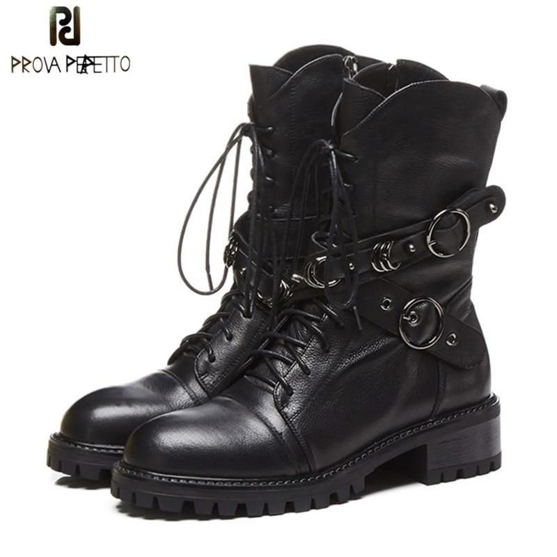 Prova Perfetto botas de cuero genuino de alta calidad para mujer botas de plataforma de encaje de moda con cremallera Punk zapatos planos-in Botas hasta el tobillo from zapatos    1