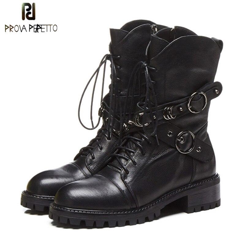 Prova perfetto botas de tornozelo de couro genuíno de alta qualidade para as mulheres rendas até botas de plataforma moda zíper botas do punk sapatos planos