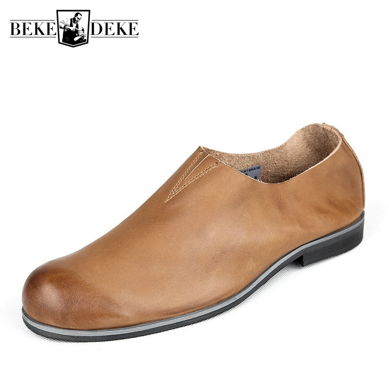 Vintage British Style Casual Leather Shoes Men Fashion Loafers 100% Genuine Leather Slip On Business Office Shoes ComfortableVintage British Style Casual Leather Shoes Men Fashion Loafers 100% Genuine Leather Slip On Business Office Shoes Comfortable