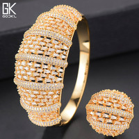 GODKI Luxury Geometry Nigerian Bangle Ring Sets Dubai Gold Jewelry Set For Women Wedding African brincos para as mulheres 2018