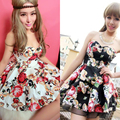 2016 Summer Autumn Cotton Dresses Fashion flora print Sexy Tube top Spaghetti Strap Casual Party Evening mini dress For Women