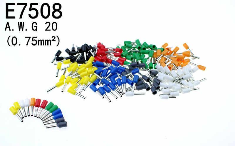 100 unids/lote E7508 Bootlace cooper Ferrules kit set cable cobre engarzado conector aislado cable Pin Terminal
