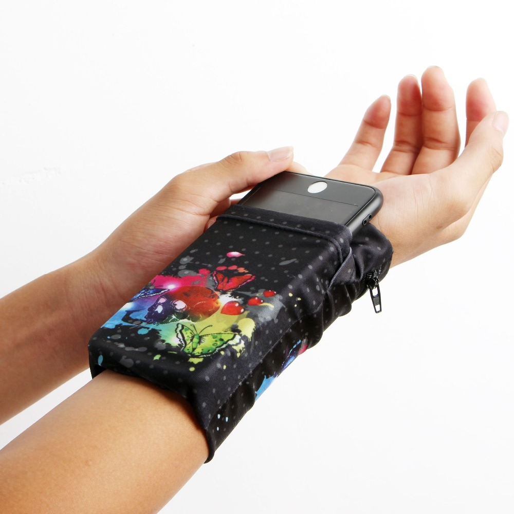 Double Side Wrist Wallet Pouch  card holder Pocket Wristband Sweatband Phone Arm Band Bag Support Multifunctional travel