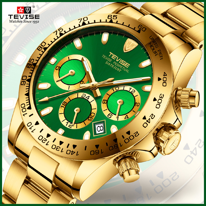 Tevise Men's Automatic Mechanical Watch Men reloj Luxury Gold Mechanical Watch Week Date Analog Display Clock Male Wristwatch triple dial hour second week display automatic mechanical watch for men tevise 356