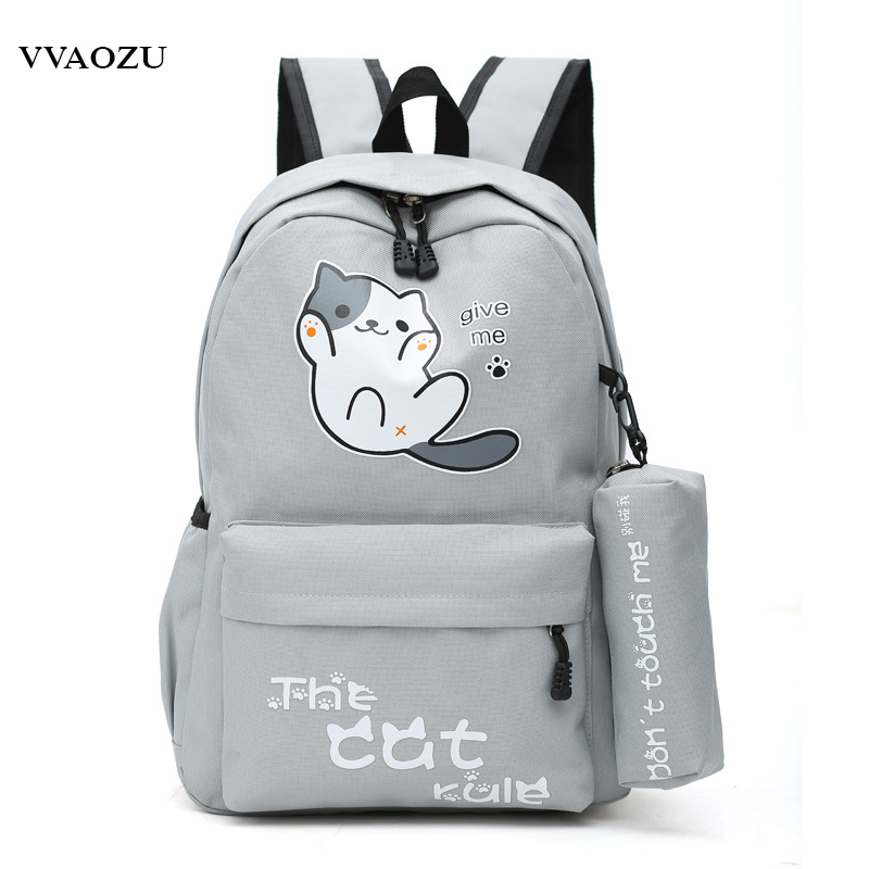 Anime Japan Neko Atsume Cat Backyard Cartoon Canvas Travel Shoulder Bag Schoolbag Backpack Rucksacks For Teenagers Boys Girls