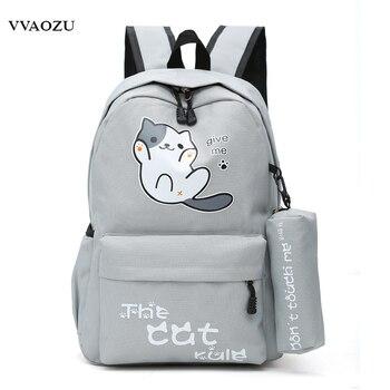 Mochila de viaje de lona con dibujos animados de gato Atsume de Anime Japan Neko, mochila, mochila para adolescentes, niños y niñas