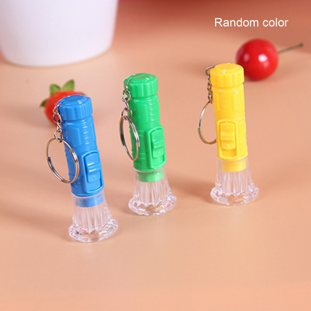 Mini Plastic Hand Torch Keyring Bright LED Flashlight Button Powered Flash Light Random Color Wholesale