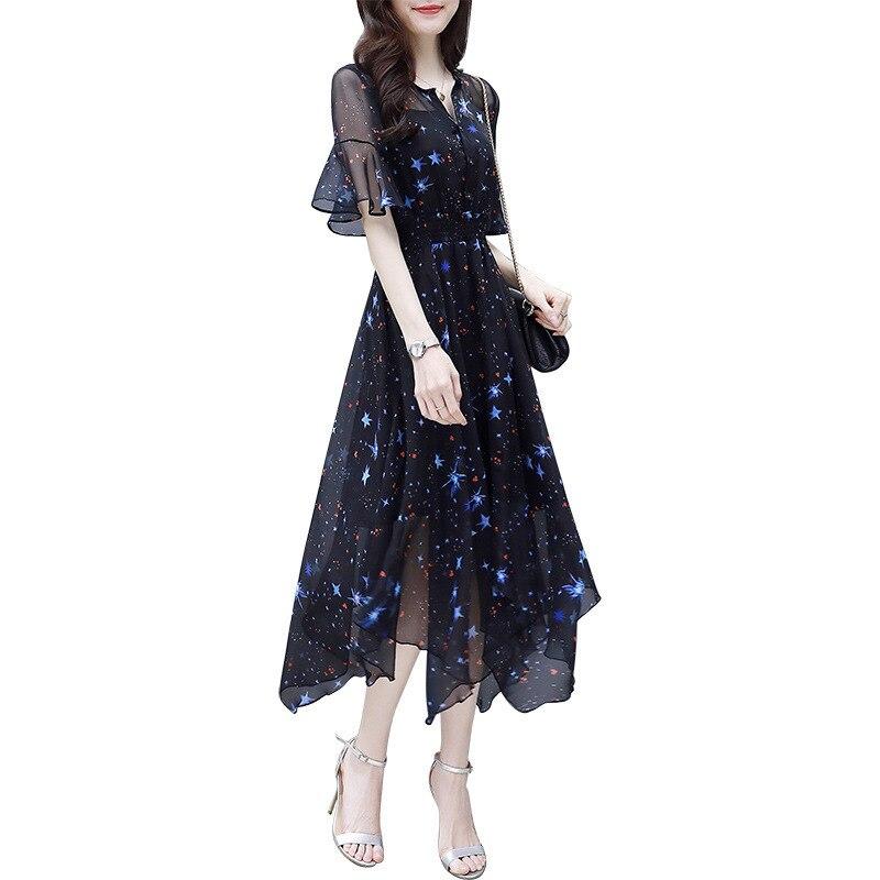 2019 Summer Elegant Dresses Female Casual Black Print Short Sleeve O-neck Mid-calf Length Woman Dresses Plus Size 3XL