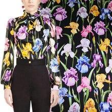 145cm lily print satin fabric drape fashion dress scarf fabric polyester material diyparent-child fabric wholesale cloth недорого