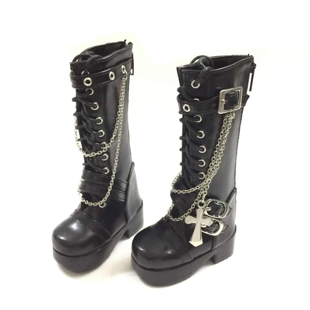 1//3 1//4 BJD Shoes SD Dollfie Dolls Black/&White PU Leather Military Boots New