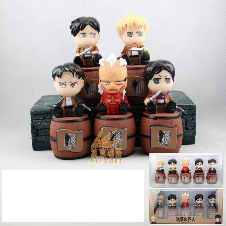 5 pcs Attack On Titan Swing Petit Chara Land Rivaille Eren Mikasa Figure Set Christmas gift Birthday Gift
