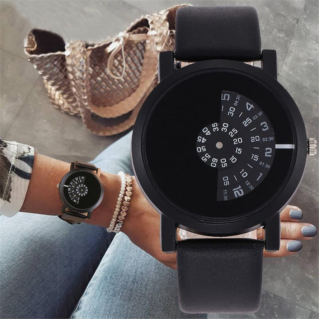Fashionable Couple Alloy Watch PU Strap Personality Round Dial Casual Wristwatch