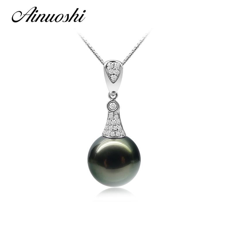 AINUOSHI Natural Tahitian Black 11-12mm Round Pearl Pendant Necklace 925 Sterling Silver Women Pendants Engagement Lover JewelryAINUOSHI Natural Tahitian Black 11-12mm Round Pearl Pendant Necklace 925 Sterling Silver Women Pendants Engagement Lover Jewelry
