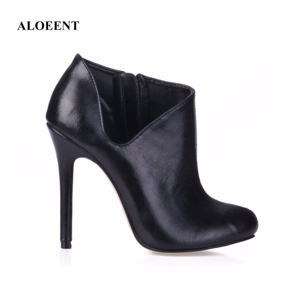 ALOEENT New Women Shoes Slip-On Retro High Heel Ankle Boot Elegant Casual Short Boots Female Pointed Toe Shoes
