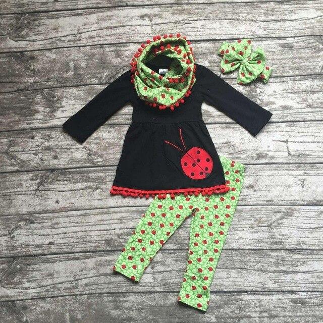 2-7 т ОСЕНЬ/Зима дети НАРЯДЫ 3 шт. шарф брюки устанавливает девушки жуков красный pom pom бутик одежда черный топ наборы