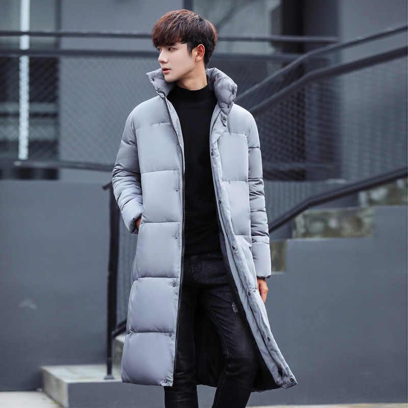 プラス厚く暖かい秋冬メンズロングパーカーコート Hombre 男性トップス生き抜くパーカージャケット