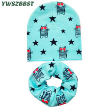 사랑 고양이와 아기 모자 인쇄 아기 소년 모자 아이들을위한 키즈 캡슐 패션 아이 캡 스카프 목걸이 적합 0-3 나이 설정