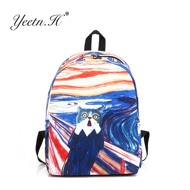 Yeetn.H Fun Cartoon Cat Printing Backpack 3D Graffiti Animal Backpack High School Students Shoulder Bag Boy Girls Book Bag Y4019