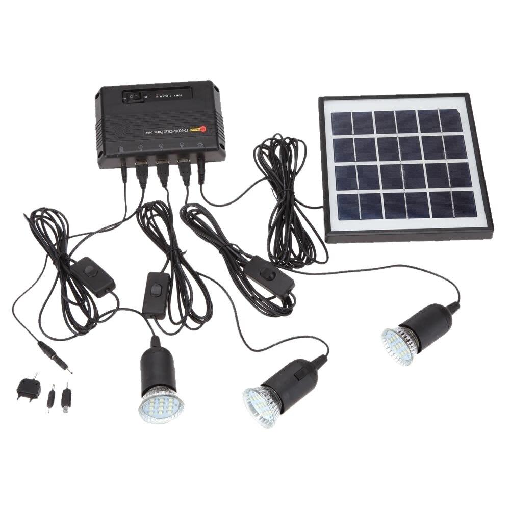 4 W panneau solaire 3 lampe à LED USB 5 V téléphone portable chargeur système Kit pour maison jardin voie escalier extérieur Camping pêche noir