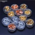 12 Caja de Oro Plata Cobre Foil Paillette Chip Nail Art Polaco Brillo Stickers Decals Consejos Diseño Decoración Manicura Herramientas Set