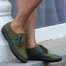 Leather Men Shoes Net Summer Casual Shoes Breathable Soft Driving Men'S Handmade Chaussure Homme Surface Loafers