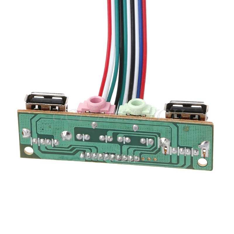 Cable adaptador USB 2,0 de 2 puertos para carcasa de ordenador Panel frontal conector de Audio Puerto Mic auricular Cable