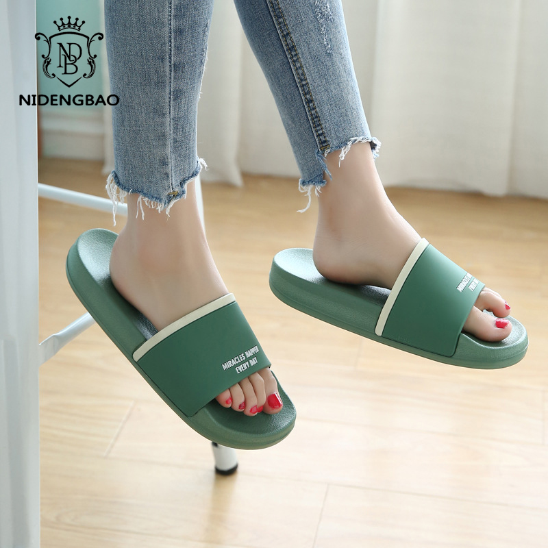 Brand Slippers Women Men Flat Slides Summer Casual Beach Flip Flops Shoes Non-slip Indoor House Home Comfortable Slippers Shoes(China)