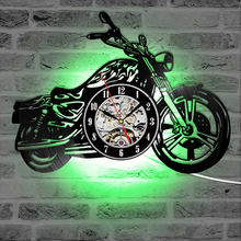 Vinyl Record Motorcycle Harley Clock Wall Art LED Clock With 7 Colors