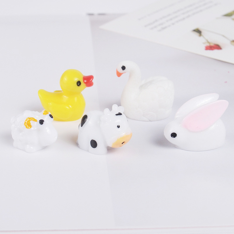 10PCS Mini Slime Charms Resin Animals Cartoon Cute Duck Rabbit Cow Slime Accessories Making Supplies For DIY Scrapbooking Crafts
