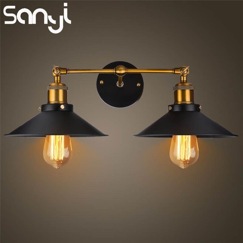 € 33.05 20% de réduction SANYI moderne Vintage applique industrielle Loft  métal Double rustique applique murale lampe éclairage intérieur pour salle  ...