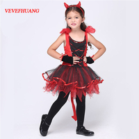 VEVEFHANG halloween Cat Gril costume for kids girls little red devil costumes sets girls halloween outfits