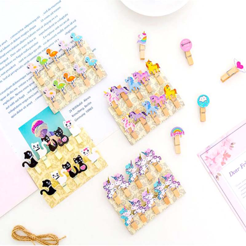 10 Pcs/pack Cartoon Unicorn Flamingo Cactus Cat Carrot Wooden Clip Photo Paper Craft DIY Clips With Hemp Rope School Supplies