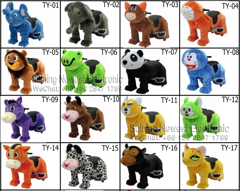 Remote Control / Electric Coin Operated Plush Stuffed Walking Animal Rides On Toys