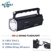 100 metro diving led torcia luce subacquea della torcia portatile spotligh trechargeable torce a led con batteria cree xm l2