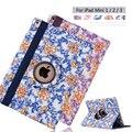 360 rotación de porcelana azul y blanca de la caja de cuero para apple ipad mini 2 3 tablet con soporte cubre la caja + film + stylus pen