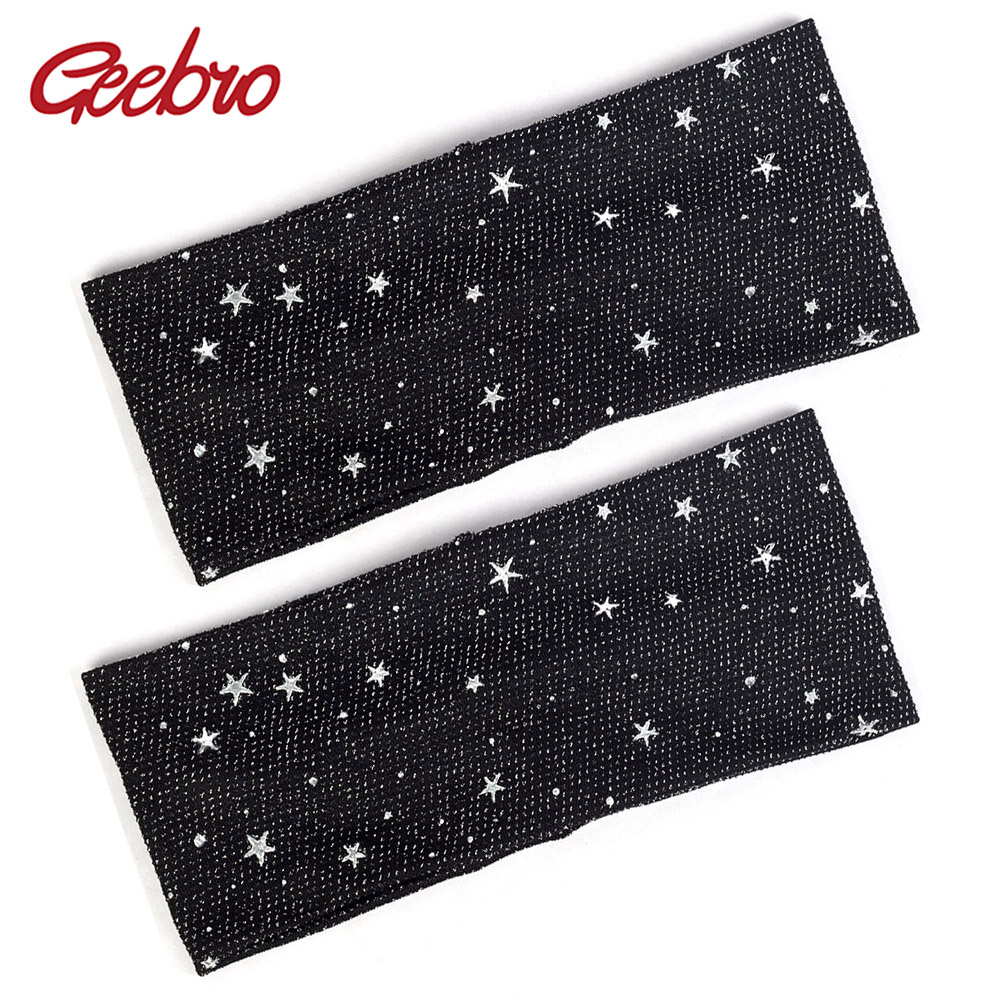 Geebro Women Blacke Headband Sliver Dot Star Head Wrap Fashion Accessories Turban Wraps Female Elastic Hairband Plain Flat DQ789